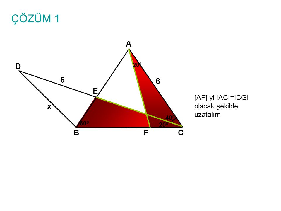 ÇÖZÜM 1 A D 6 6 E x B F C [AF] yi IACI=ICGI olacak şekilde uzatalım
